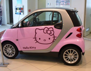 Hellow Kitty smart car in pink.PNG