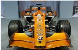 Autosport International F1 Race Car 2008 in orange yellow.jpg