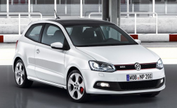 Cool looking car picture of a 2010 Volkswagen Polo Gti in white.PNG