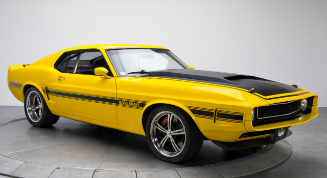 Bright yellow cars picture of 1970 Ford Mustang Boss Snake.PNG