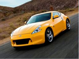 Photo of Sports car Nissan 370Z 2009  in bright yellow color.JPG