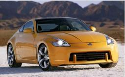 Bright  yellow Nisan sport car pictures.JPG