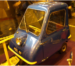 Peel P50 Micro Car in dark blue and yellow lines.PNG