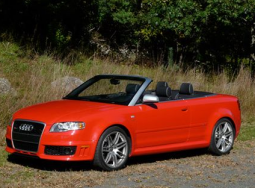 Bright red convertable sport car with model 2008 Audi RS4 Cabriolet photos.PNG