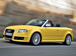 Convertable picture with model 2008 Audi RS4 sport car in bright yellow.PNG