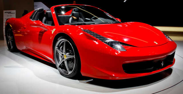 Newest Ferrari cars pictures of Ferrari 458 Spider in bright red.PNG